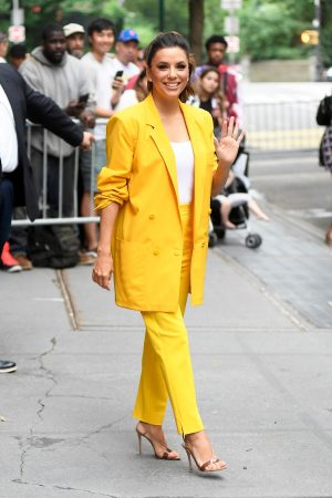 "Eva Longoria in Yellow Suit Outside ""View"" in New York City 2019/06/17 10"