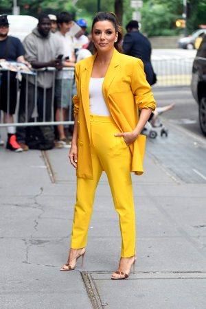 "Eva Longoria in Yellow Suit Outside ""View"" in New York City 2019/06/17 11"