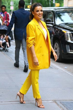 "Eva Longoria in Yellow Suit Outside ""View"" in New York City 2019/06/17 12"