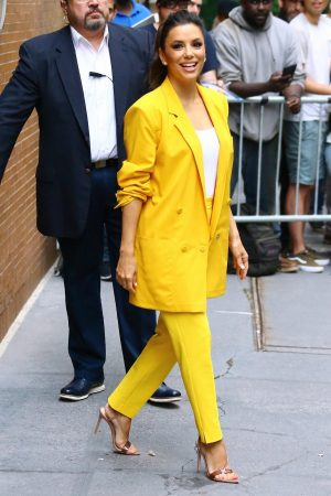 "Eva Longoria in Yellow Suit Outside ""View"" in New York City 2019/06/17 13"