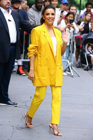 "Eva Longoria in Yellow Suit Outside ""View"" in New York City 2019/06/17 14"