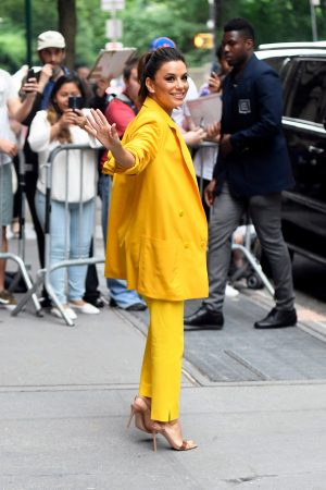 "Eva Longoria in Yellow Suit Outside ""View"" in New York City 2019/06/17 17"