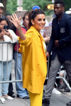 "Eva Longoria in Yellow Suit Outside ""View"" in New York City 2019/06/17 19"