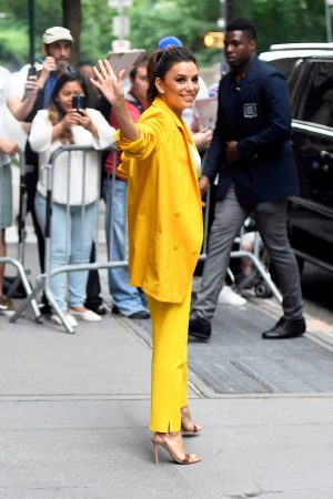 "Eva Longoria in Yellow Suit Outside ""View"" in New York City 2019/06/17 20"