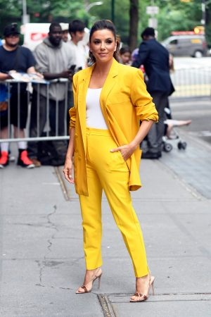"Eva Longoria in Yellow Suit Outside ""View"" in New York City 2019/06/17 22"