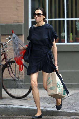 Famke Janssen in Black Stylish Dress Out in New York 2019/06/21 2