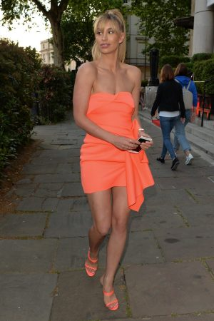 Ferne McCann in Orange Stylish Short Dress Out in London 2019/05/23 8