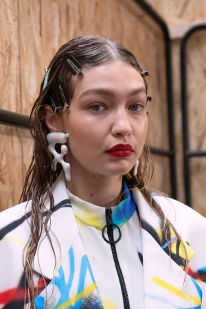 Gigi Hadid at Menswear Spring Summer 2020 Fashion Show Backstage in Paris 2019/06/19 11