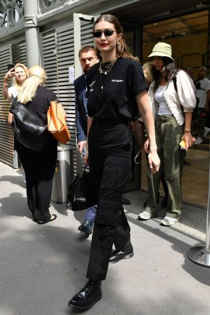Gigi Hadid Outside for Off-White Menswear Spring Summer 2020 Show in Paris 2019/06/19 3