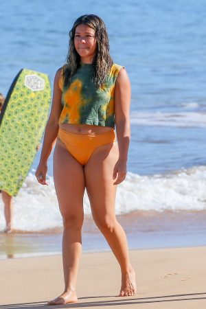 Gina Rodriguez in Yellow Bikini at a beach in Maui, Hawaii 2019/06/17 1