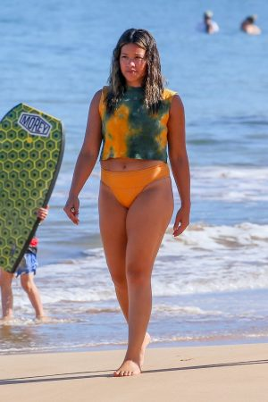 Gina Rodriguez in Yellow Bikini at a beach in Maui, Hawaii 2019/06/17 2