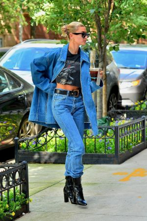Hailey Baldwin in Double Denim Out in New York City 2019/06/22 11