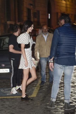 Kendall Jenner in Black Dotted Short Dress Out and About in Rome 2019/06/04 5