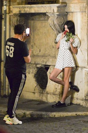 Kendall Jenner in Black Dotted Short Dress Out and About in Rome 2019/06/04 9