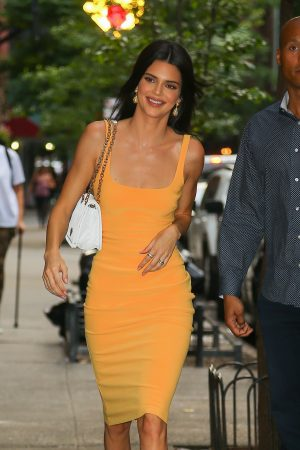 Kendall Jenner in Orange Color Dress Out and about in New York 2019/06/17 2
