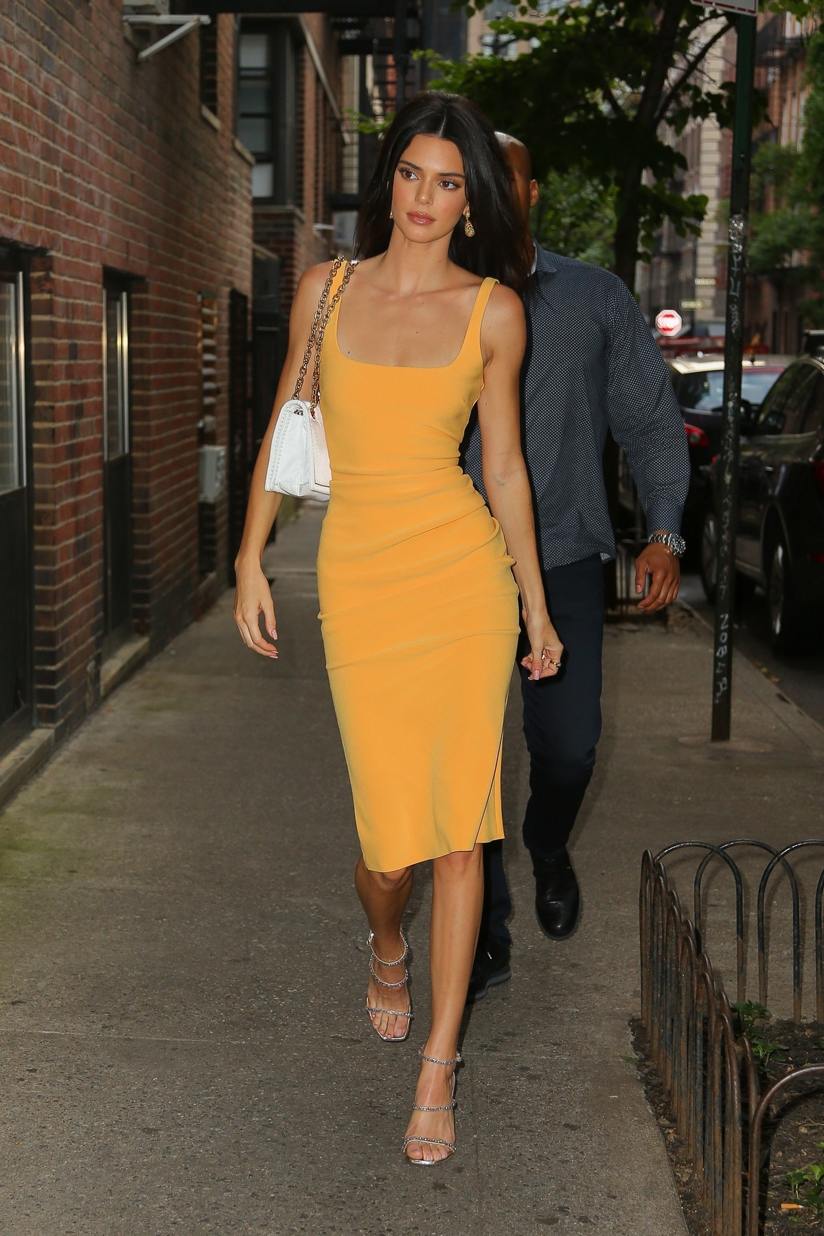 Kendall Jenner in Orange Color Dress Out and about in New York 2019/06/17 6
