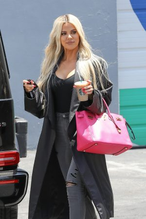 Khloe Kardashian in Black Tank Top with Long Coat Out of a Calabasas Studio 2019/06/17 1