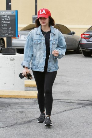 Lucy Hale in Denim Jacket with Jeggings Out for Coffee in Studio City 2019/06/18 2