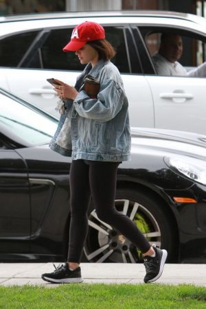 Lucy Hale in Denim Jacket with Jeggings Out for Coffee in Studio City 2019/06/18 5