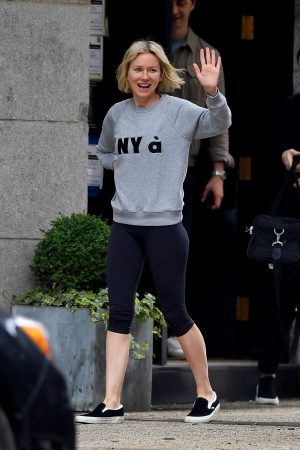 Naomi Watts in Sweatshirt and Tights Out in New York 2019/06/18 2