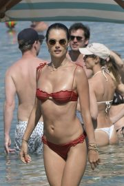 Alessandra Ambrosio in Red Bikini at the Beach in Mykonos 2019/07/19 2