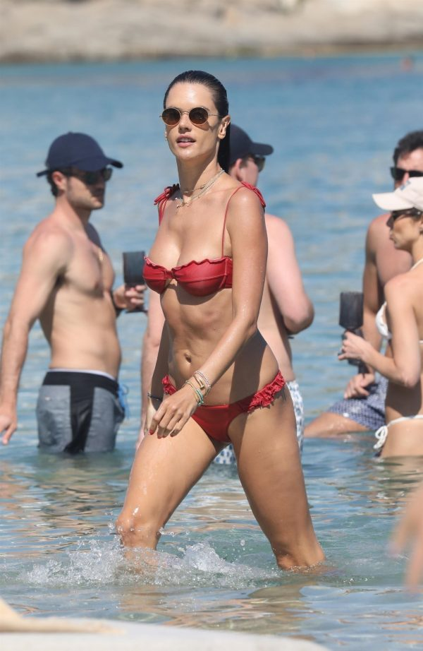 Alessandra Ambrosio in Red Bikini at the Beach in Mykonos 2019/07/19 3