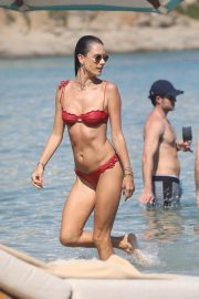 Alessandra Ambrosio in Red Bikini at the Beach in Mykonos 2019/07/19 4