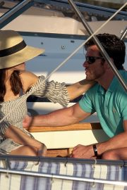Alexandra Daddario and Brendan Wallace Enjoys a Relaxing Day Aboard a Yacht in Capri 2019/07/07 2