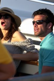Alexandra Daddario and Brendan Wallace Enjoys a Relaxing Day Aboard a Yacht in Capri 2019/07/07 3