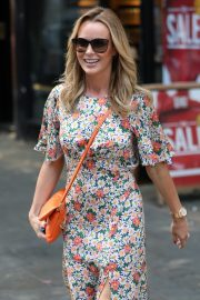 Amanda Holden flashes her legs in Floral Dress Out in London 2019/07/01 2