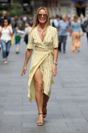 Amanda Holden flashes her legs in high split yellow polka dot dress Out in London 2019/07/08 1