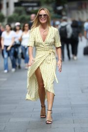Amanda Holden flashes her legs in high split yellow polka dot dress Out in London 2019/07/08 7