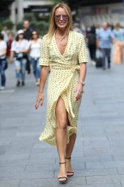 Amanda Holden flashes her legs in high split yellow polka dot dress Out in London 2019/07/08 9