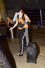 Anna Kendrick in Light Orange Top and Adidas Originals 3-Stripe Track Pants Out at LAX Airport in Los Angeles 2019/07/23 6