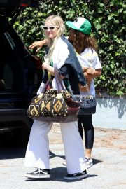 Ashlee Simpson in Black Large Top and White Pants Out in Los Angeles 07/18/2019 3