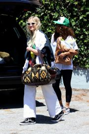 Ashlee Simpson in Black Large Top and White Pants Out in Los Angeles 07/18/2019 9