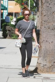 Ashley Tisdale in Grey Top and Tights Out a Sunday Afternoon in Studio City 2019/07/07 4