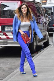 Bella Thorne in a Purple Mugler Pantsuit Out in New York 2019/07/23 2