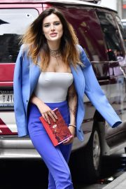 Bella Thorne in a Purple Mugler Pantsuit Out in New York 2019/07/23 3