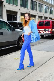 Bella Thorne in a Purple Mugler Pantsuit Out in New York 2019/07/23 8