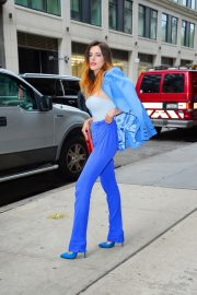 Bella Thorne in a Purple Mugler Pantsuit Out in New York 2019/07/23 9