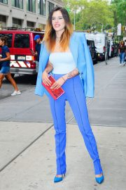 Bella Thorne in a Purple Mugler Pantsuit Out in New York 2019/07/23 10