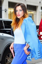 Bella Thorne in a Purple Mugler Pantsuit Out in New York 2019/07/23 11