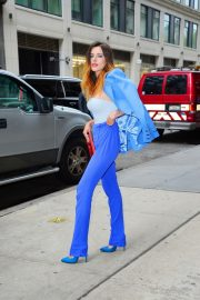 Bella Thorne in a Purple Mugler Pantsuit Out in New York 2019/07/23 13