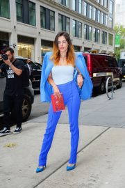 Bella Thorne in a Purple Mugler Pantsuit Out in New York 2019/07/23 14