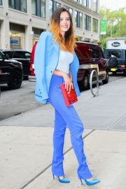 Bella Thorne in a Purple Mugler Pantsuit Out in New York 2019/07/23 15
