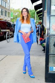 Bella Thorne in a Purple Mugler Pantsuit Out in New York 2019/07/23 16