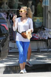 Bethany Joy Lenz in White Top and Blue Tights Out in Studio City 2019/07/19 2