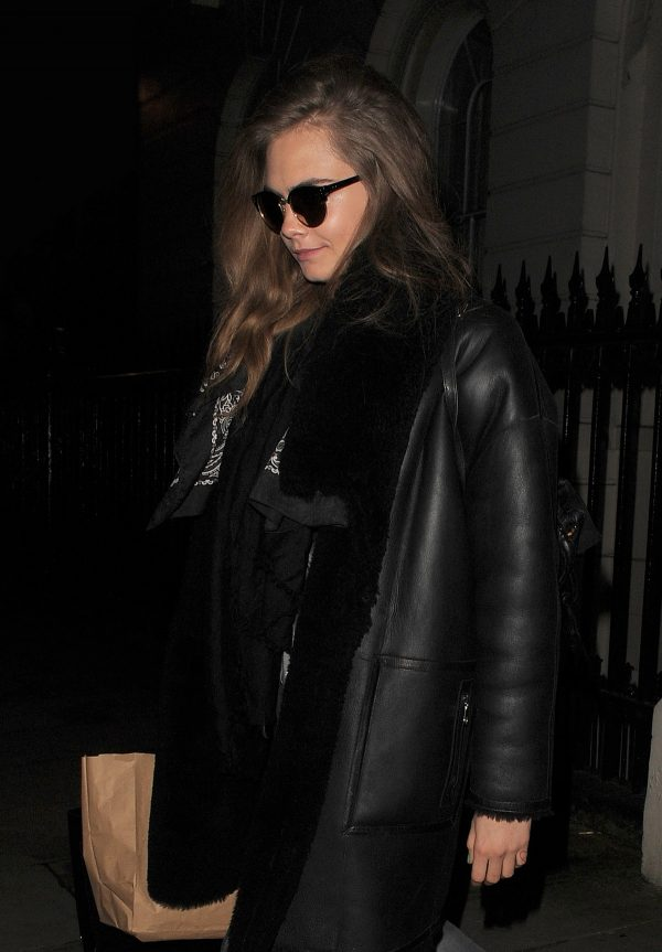 Cara Delevingne in Black Leather Long Coat Night Out in London 2019/07/21 2