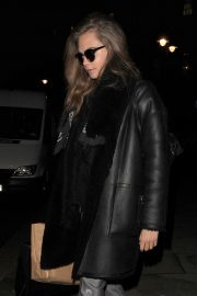 Cara Delevingne in Black Leather Long Coat Night Out in London 2019/07/21 4